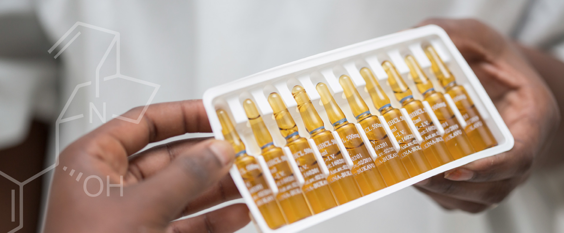 Pharmakina produces finished pharmaceutical products (FPP) liek these Ampoules of Injectable QUININE BICHLORHYDRATE for the domestic and regional market around Bakavu in the DRC.
